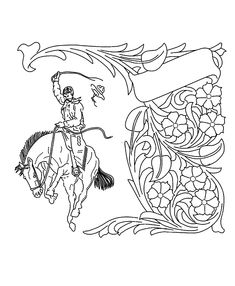 The bucking horse and flower/vine design is unique. Leather Tooling Patterns, Leather Pattern, Wood Carving Tools, Leather Carving, Vine Design, Flowering Vines, Leather Projects, Stuffed Animal Patterns, Leather Design