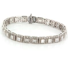 Vintage 14 Karat White Gold Diamond Tennis Cocktail Bracelet Fine Estate Jewelry