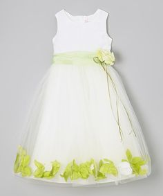Look what I found on #zulily! Ivory & Lime Floral A-Line Dress - Infant, Toddler & Girls #zulilyfinds