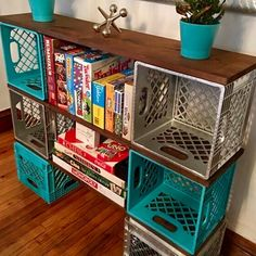 Dishfunctional Designs: Milk Crate Magic: Neat Things You Can Make With Upcycled Milk Crates Fun ideas for DIY upcycled milk crate furniture and home decor made from repurposed milk crates. New Classroom, Classroom Setting, Classroom Setup, Classroom Design, Classroom Storage Ideas, Diy Classroom Decorations, Art Classroom Layout, Classroom Cubbies, Teacher Storage