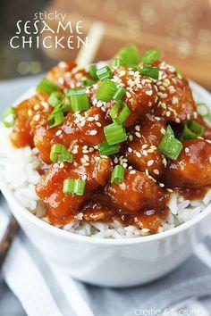 30 Minute Sticky Sesame Chicken - Creme de la Crumb