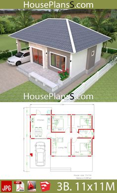 Simple House Design Plans with 3 Bedrooms Full Plans Simple House Design Plans with 3 Bedrooms Full Plans - House Plans Sam Simple House Plans, Simple House Design, Dream House Plans, Modern House Plans, Dream Houses, Bungalow House Design, Tiny House Design, Modern House Design, 3 Bedroom Bungalow
