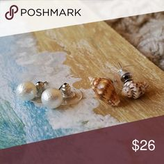 Shell and Pearl Stud Set Beauitful bundle of tiny shell and textured faux pearl stud earrings. Only two sets available. Additional keywords: shells pearls ocean sea beach beachy tropical summer fun pretty Jewelry Earrings