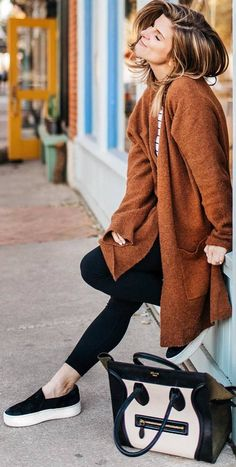 #winter #outfits top, brown bardigan, black leggings, slip on shoes