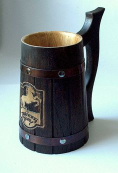 The Prancing Pony Personalized wooden Beer Mug by WoodenMugStudio