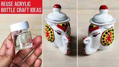 Waste Bottle Craft, Plastic Bottle Crafts, Diy Bottle, Bottle Art, Mirror Crafts, Vase Crafts, Clay Crafts, Acrylic Paint Bottles, Bottle Painting