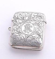 Victorian Sterling Silver Vesta Case, Hallmarked 1891, Engraved Antique Match Box Pendant