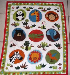 HandStitched Zoo Animal Baby Quilt by HollyHomemadeGoodies on Etsy, $55.00
