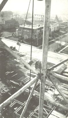 Construction of the library, as seen from the 120 foot steel tower over campus.  From the 1936 Oregana (University of Oregon yearbook).  www.CampusAttic.com