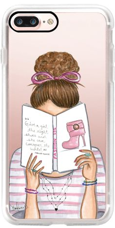 Casetify iPhone 7 Plus Classic Grip Case - Fashion reading nerd book addict fashion illustration by the pretty pink studio #Casetify