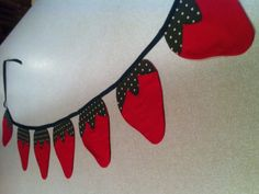 Fabric Strawberry Bunting Reusable by sweetjeanette on Etsy, $20.00