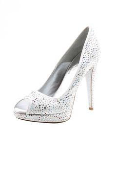 White sparkle high heel pump