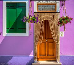 Burano Doorway by Pat Kofahl on Amazing Architecture, Architecture Design, Porches, Portal, Purple Home, Regions Of Italy, City Scene, Northern Italy, Venice Italy