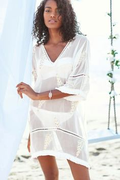 Cream Embellished Feather Kaftan