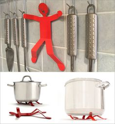 15 Whimsical Kitchen Gadgets That Are As Functional As They Are Silly // Hot Man Trivet by Peleg Design