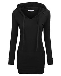 Bepei Womens Long Sleeve Tunic Sweatshirt String Hoodie With Pocket Black L -- You can get more details by clicking on the image.