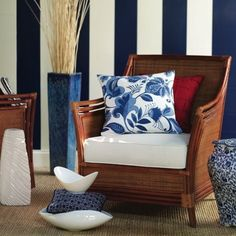 Navy striped walls- for the bathroom?