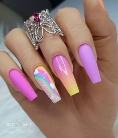 Bright Summer Acrylic Nails, Pink Acrylic Nails, Acrylic Nail Designs, Summer Nails, Dope Nail Designs, Fruit Nail Designs, Purple Glitter Nails, Pink Nail Art, Red Nail