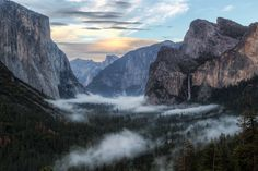 Tunnel View Sunset - Lenticular clouds stack up over Half Dome, catching the last bit of sunset light.