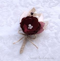 Wine Burgundy Burlap Boutonniere/ Fall Rustic by SunnyApril