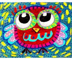 #owl #nursery #art #etsy Owl Art Whimsical Owl Print Whimsical Art by AGirlAnOwlAndACat, $10.00