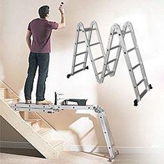 Escalera plegable multiposiciones, quien no ha tenido problemas para cambiar una bombilla en mitad de una escalera, o pintar escalera arriba?