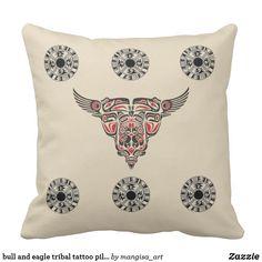 Shop bull and eagle tribal tattoo pillow design created by mangisa_art. Custom Art, Pillow Design, Tribal Tattoos, Party Supplies, Color Schemes, Canvas Art, Eagle, Throw Pillows, Decor