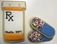 Doctor Cookies and Pregnant Lady Cookies. These pill bottle and pill cookies were for a graduation party for a psychology major graduate. Nurse Cookies, Baby Cookies, Iced Cookies, Fun Cookies, Cupcake Cookies, Brownie Cookies, Sugar Cookies, Decorated Cookies, Nurse Cupcakes