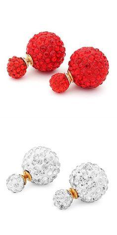 Jhumka earrings full rhinestone crystal double balls ear stud earrings for  women  earrings  quilling 3f0dc032bab3