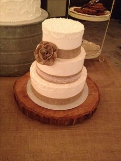 Burlap rustic romance wedding cake country wedding rural wedding vintage inspired lace piping - this cake feeds 75 people - $238