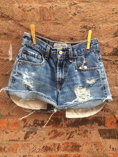 "Vintage LEVIS Cutoff Jean Shorts Size 24"" Womens Denim Shorts  on Etsy, $34.00"