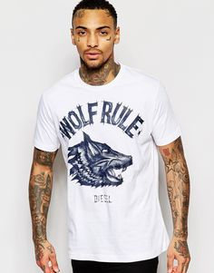 Diesel T-Shirt T-Joe-Av Crewneck Wolf Rule Denim Print in White
