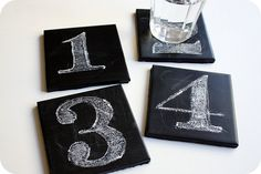DIY Chalkboard coasters. These were fun to make!