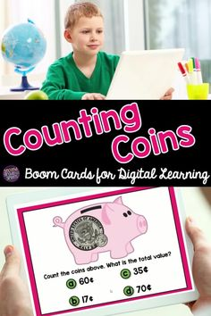 Digital task cards to practice counting coins! Students will count the coins shown in each piggy bank and select the correct amount from four multiple choice options. Self checking and fun for students in first grade or second grade. Great for digital math centers! Learning Money, Hands On Learning, Learning Activities, Teaching Second Grade, Counting Coins, Common Core Ela, Teaching Phonics, 2nd Grade Classroom, Multiple Choice