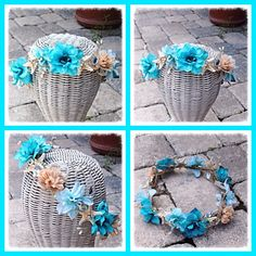 Burlap and Turquoise Floral Crystal Shell Starfish Beach Wedding Bride Headband Crown, $40.00