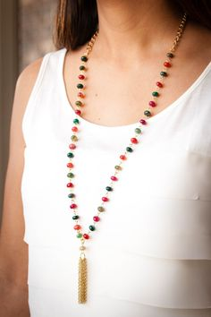 mixed agate bead necklace with gold tassel by BlushingGemDesigns on Etsy https://www.etsy.com/listing/269610597/mixed-agate-bead-necklace-with-gold