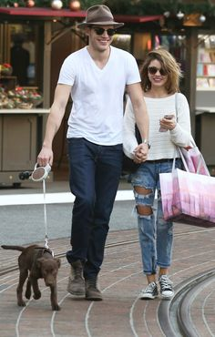 Sarah Hyland and boyfriend Dominic Sherwood take their pup for a walk in West Hollywood on Wednesday.