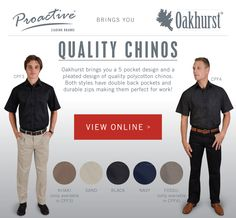 We have 2 styles of high quality polycotton Chinos available brought to you by Both styles have double back pockets and are perfect for work! Corporate Outfits, China, Black And Navy, Promotion, Pockets, Clothing, Style, Outfit, Swag