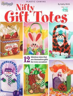 Free Fall Plastic Canvas Patterns | NIFTY GIFT TOTES Very Cute Plastic Canvas Pattern Book by M2Hawk
