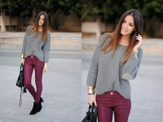 Burgundy pants + gray top + black shoes and bag