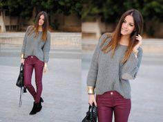Burgundy pants + gray top + black shoes and bag