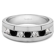Two Birch 10k White Gold Black and White Cubic Zirconia Men's Wedding Ring (10k White Gold, Size 4.5)