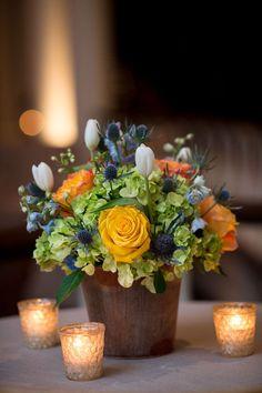 ann whittington events elegant rehearsal dinner southern style country club yellow rose blue thistle white tulip hydrangea orange rose