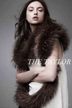 Taylor Scarf in Raccoon Fur in Taupe