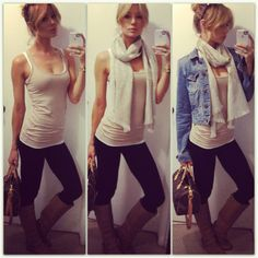 Despite looking like a plastic toothpick model, its a cute Outfit. Leggings, tank, scarf & jean jacket.
