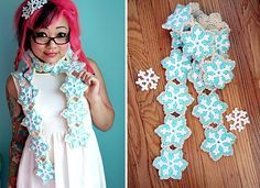 Ravelry: Snowflake Sugar Cookie Scarf pattern by Twinkie Chan Crochet Scarves, Crochet Shawl, Crochet Yarn, Crochet Clothes, Crochet Bunting, Crochet Winter, Holiday Crochet, Love Crochet, Ravelry