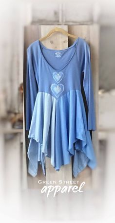 Blue upcycled tunic, Lagenlook tunic, artsy tunic, romantic tunic, Periwinkle tunic, Women's upcycled clothing, refashioned clothing, hearts by GreenStreetApparel on Etsy https://www.etsy.com/listing/541572123/blue-upcycled-tunic-lagenlook-tunic