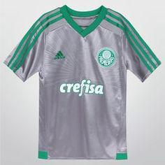 ceb3dbfa77 Camisa Adidas Palmeiras III 15 16 s nº Juvenil - Prata+Verde
