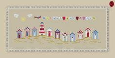 Stickvorlage Stickmuster farbig Kreuzstich sticken Insel Nordsee Stickvorlage von www.yayaya-shop.com