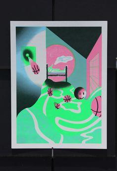 """Poster/Maison Chambre de l'enfant """"La tête au nord et les pieds à l'ouest, le décompte commence pour votre progéniture. Ses rêves n'en seront que plus beaux."""" 4 colors screen-printed images 16x24 price : 10€ unity"""